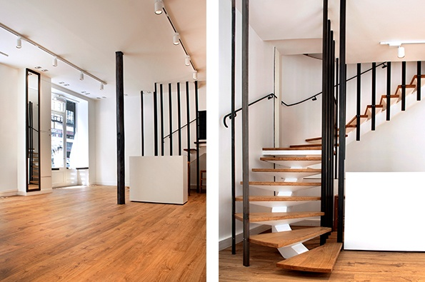 Showroomby - Un espace évènementiel unique en plein coeur de Paris : La boutique et l'escalier menant au 1er étage