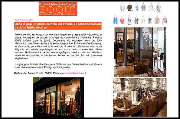 Showroomby - Un espace évènementiel unique en plein coeur de Paris : Article de Global Merchandising pour la marque Opificio JM de John Malkovitch