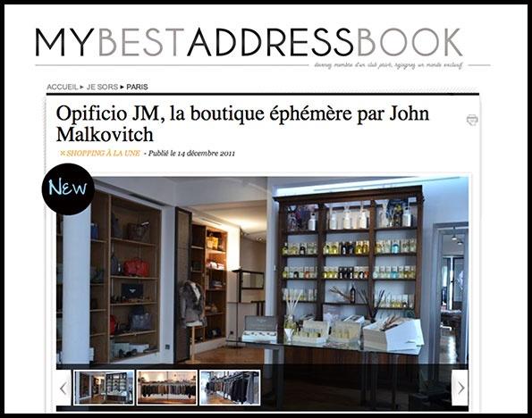 Showroomby - Un espace évènementiel unique en plein coeur de Paris : Article pour Opificio JM, la boutique éphémère de John Malkovitch