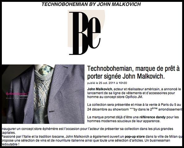 Showroomby - Un espace évènementiel unique en plein coeur de Paris : Be - Article sur la marque de John Malkovitch